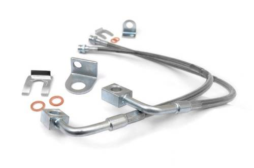 Rough Country Suspension - 89707 | Jeep Front Stainless Steel Brake Lines | 4-6in (07-18 Wrangler JK)
