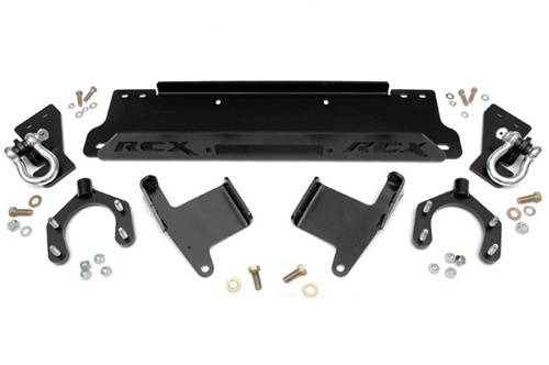 Rough Country Suspension - 1173 | Jeep Winch Mounting Plate w/D-rings for Factory Bumper (07-18 Wrangler JK)