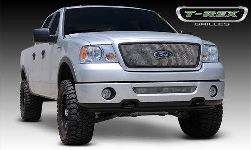 T-Rex Billet - 2004-2008 Ford F150 2WD and All Lariat Models - Sport Series Formed Mesh Grille - Stainless Steel - Triple Chrome Plated - w/ Logo Opening