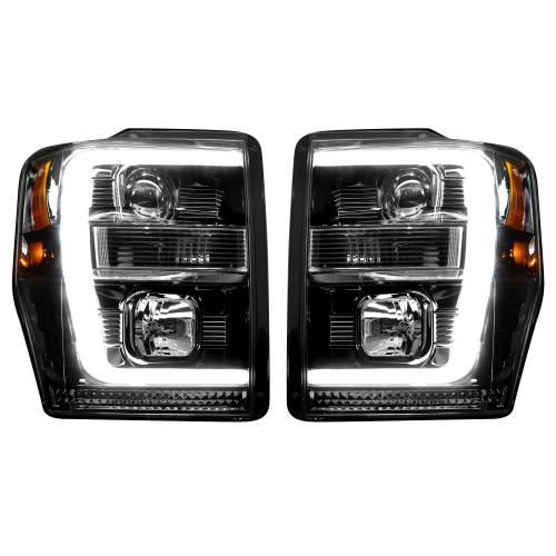 Recon Truck Accessories - 264196BKC | PROJECTOR HEADLIGHTS w/ Ultra High Power Smooth OLED HALOS & DRL – Smoked / Black