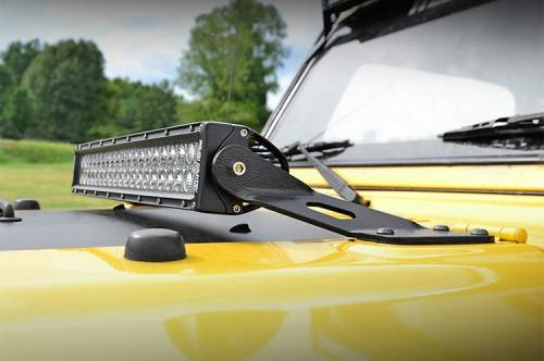Rough Country Suspension - 70210 | Jeep 20-inch LED Light Bar Hood Mounts (97-06 Wrangler TJ)