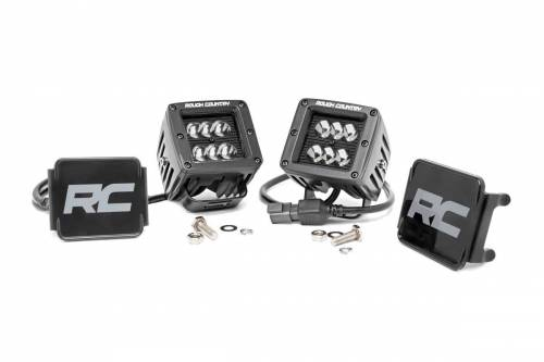 Rough Country Suspension - 70903BL |  2 Inch Square Cree LED Lights - Pair | Blacxk Series