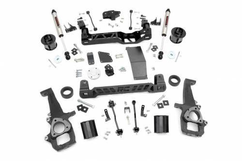 Rough Country Suspension - 33270 | 6 Inch Dodge Suspension Lift Kit w/ V2 Shocks (12-18 Ram 1500 4WD)