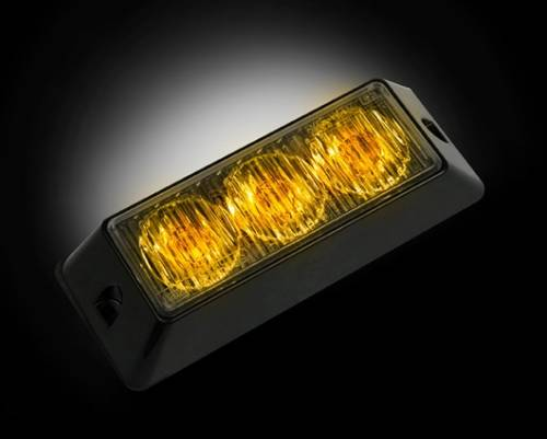 Recon Truck Accessories - 3-LED 12 Function 3-Watt High-Intensity Strobe Light Module w Black Base - Amber Color