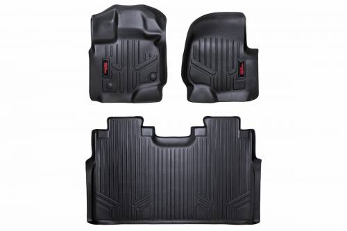 Rough Country Suspension - M-51512 | Heavy Duty Front & Rear Floor Mats | Super Crew, Bucket Seats