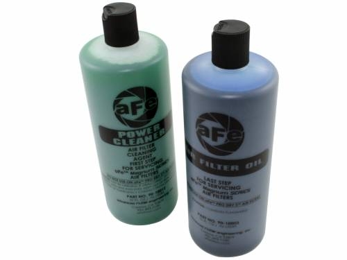 AFE Power Clearance Center - 90-50521 | Air Filter Restore Kit | 32 oz Blue Oil & Power Cleaner (Squeeze Bottles)