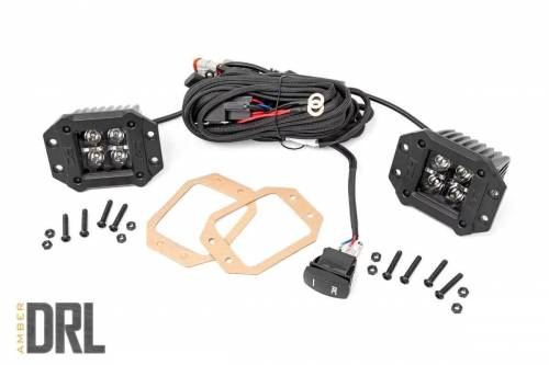 Rough Country Suspension - 70803BLKDRLA | 2 Inch Square Flush Mount CREE LED Lights | Pair, Black Series w/ Amber DRL