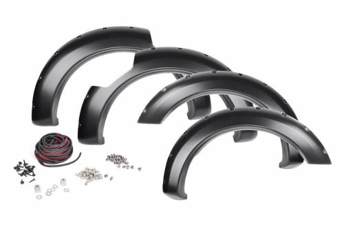 Rough Country Suspension - F-N101705   Nissan Pocket Fender Flares with Rivets   Crew Cab NO Engine Badge