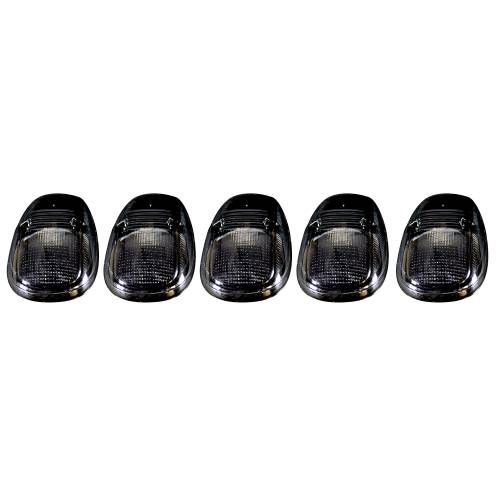 Recon Truck Accessories - 264145BK | (5-Piece Set) Smoked Cab Roof Light Lens with Amber