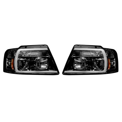 Recon Truck Accessories - 264198BKC   PROJECTOR HEADLIGHTS w/ Ultra High Power Smooth OLED HALOS & DRL – Smoked / Black