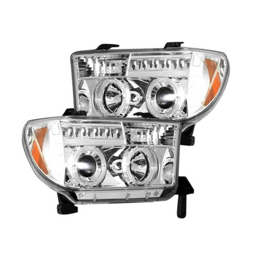 Recon Truck Accessories - 264194CL | PROJECTOR HEADLIGHTS – Clear / Chrome