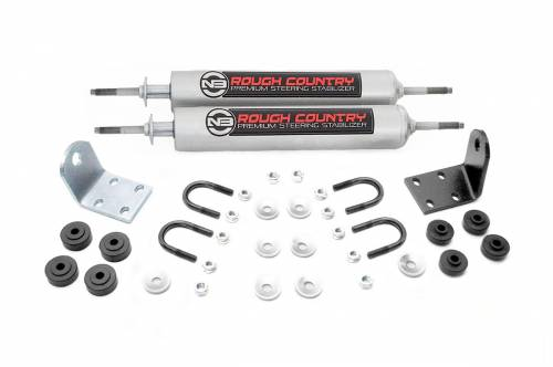 Rough Country Suspension - 8733630 | Ford Dual Steering Stabilizer