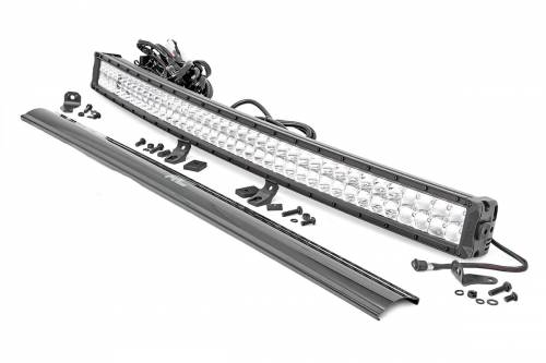 Rough Country Suspension - 72940D   40-inch Curved Cree LED Light Bar - (Dual Row   Chrome Series w/ Cool White DRL)