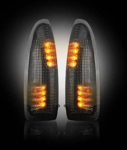 Lighting - Mirror & Marker Lights - Recon Truck Accessories - 264120BK | Side Mirror Lenses | Smoked with Amber LED