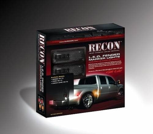 Lighting - Mirror & Marker Lights - Recon Truck Accessories - 2010-2014 Dodge Ram 3500 Dually Fender Lights - Smoked