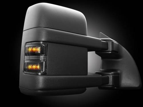 Lighting - Mirror & Marker Lights - Recon Truck Accessories - 264140BK | Side Mirror Lenses | Smoked with Amber LEDs