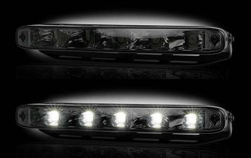 "Lighting - Driving & Running Lights - Recon Truck Accessories - LED Daytime Running Lights w White LED's & Rectangular Shaped Housing aka ""Audi Style"" - Smoked Lens"