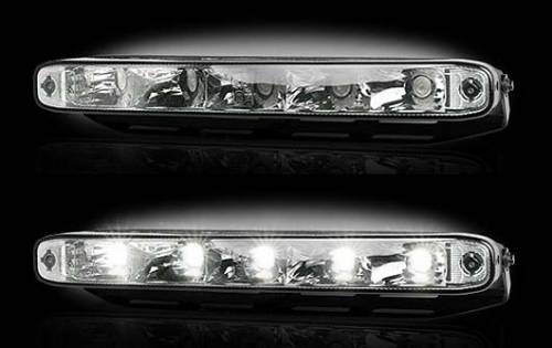 "Lighting - Driving & Running Lights - Recon Truck Accessories - LED Daytime Running Lights w White LED's & Rectangular Shaped Housing aka ""Audi Style"" - Clear Lens"