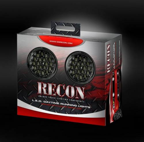 Lighting - Driving & Running Lights - Recon Truck Accessories - LED Daytime Running Lights w White LED's & Round Shaped Housing - Smoked Lens