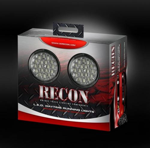 Lighting - Driving & Running Lights - Recon Truck Accessories - LED Daytime Running Lights w White LED's & Round Shaped Housing - Clear Lens