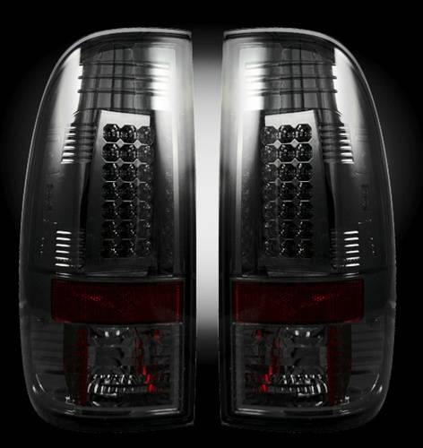 Lighting - LED Taillights - Recon Truck Accessories - 1999-2007 Ford Super Duty, 1997-2003 F150 Style Side LED Tail lights | Smoked Lens