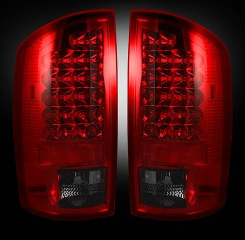 Lighting - LED Taillights - Recon Truck Accessories - 2007-2008 Dodge Ram 1500, 2007-2009 Ram 2500, 3500 LED Tail lights | Red Smoked