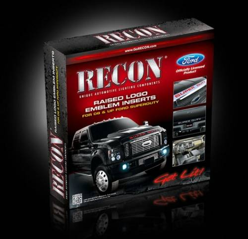 Exterior - Decals & Emblems - Recon Truck Accessories - 264181CHBK | Super Duty Raised Letter Inserts - Chrome & Black