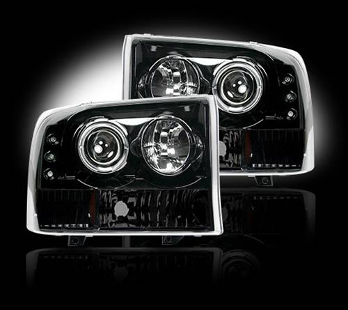 Recon Truck Accessories - 1999-2004 Ford Superduty F-250, F-350 Projector Headlights | Smoked / Black