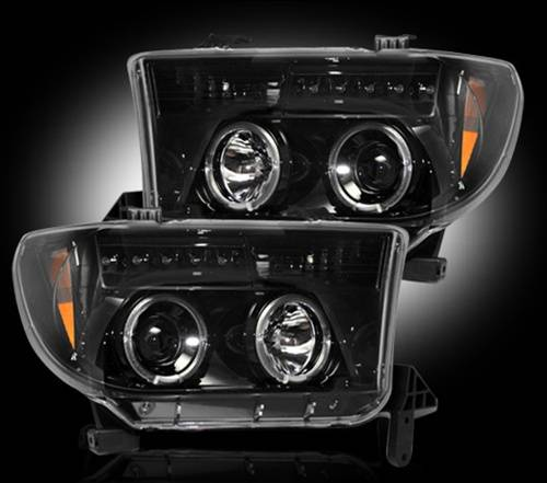 Lighting - Headlights - Recon Truck Accessories - 264194BK | Projector Headlights | Smoked/Black