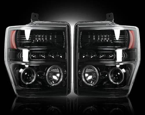 Lighting - Headlights - Recon Truck Accessories - 264196BK | Projector Headlights | Smoked / Black