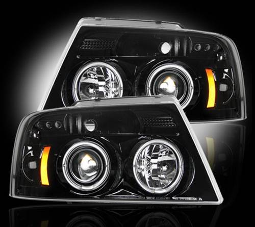 Lighting - Headlights - Recon Truck Accessories - 264198BK | Projector Headlights | Smoked / Black