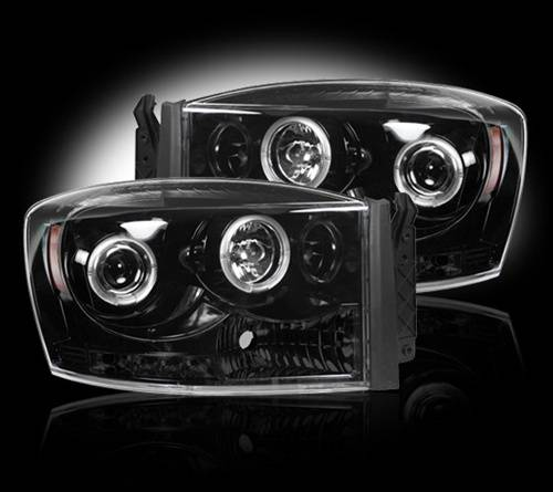 Lighting - Headlights - Recon Truck Accessories - 264199BK | Projector Headlights | Smoked / Black
