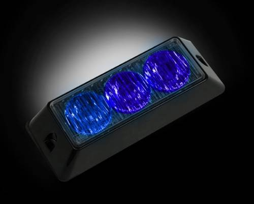 Recon Truck Accessories - 3-LED 12 Function 3-Watt High-Intensity Strobe Light Module w Black Base - Blue Color - Image 1