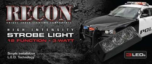 Recon Truck Accessories - 3-LED 12 Function 3-Watt High-Intensity Strobe Light Module w Black Base - Red Color - Image 3