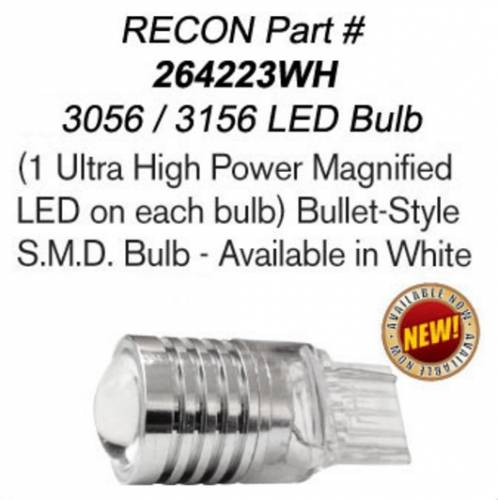 Lighting - Replacement Bulbs - Recon Truck Accessories - 3156 (Ultra High Power Magnified LED on each bulb) Bullet-Style Ultra High Power 3-Watt S.M.D. Bulb - White