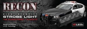 Recon Truck Accessories - 4-LED 19 Function 4-Watt High-Intensity Strobe Light Module w Black Base - Blue Color - Image 3