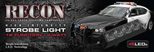 Recon Truck Accessories - 4-LED 19 Function 4-Watt High-Intensity Strobe Light Module w Black Base - Red Color - Image 3