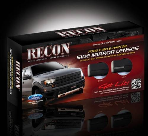 Lighting - Mirror & Marker Lights - Recon Truck Accessories - 2009-2014 Ford F-150 Pickup, Raptor Side Mirror Lenses - Smoked