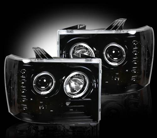 Lighting - Headlights - Recon Truck Accessories - 264271BK | Projector Headlights | Smoked/Black