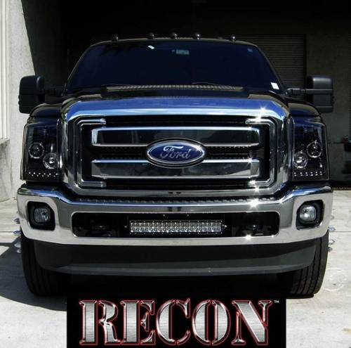 Lighting - Headlights - Recon Truck Accessories - 264272BK | Projector Headlights | Smoked / Black