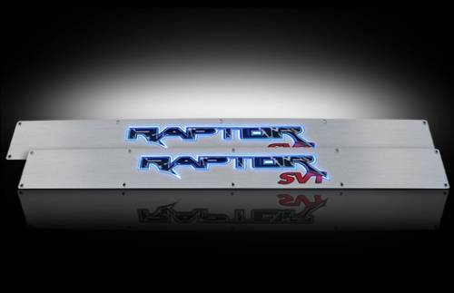 Lighting - Emblems, Badges & Inserts - Recon Truck Accessories - 2009-2014 Ford F-150 Rpator Billet Door Sill - Brushed with Blue Illumination
