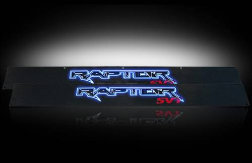 Lighting - Emblems, Badges & Inserts - Recon Truck Accessories - 2009-2014 Ford F-150 Rpator Billet Door Sill - Black with Blue Illumination