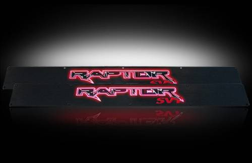 Lighting - Emblems, Badges & Inserts - Recon Truck Accessories - 2009-2014 Ford F-150 Rpator Billet Door Sill - Black with Red Illumination