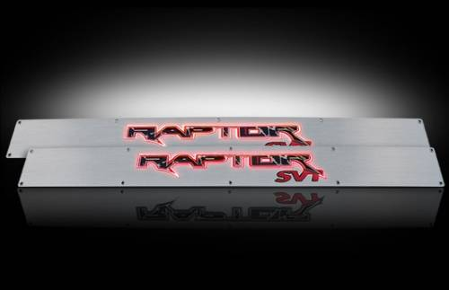 Lighting - Emblems, Badges & Inserts - Recon Truck Accessories - 2009-2014 Ford F-150 Rpator Billet Door Sill - Brushed with Red Illumination
