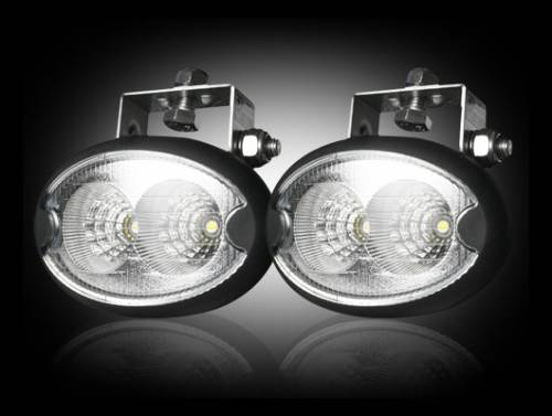 Lighting - Driving & Running Lights - Recon Truck Accessories - LED Elliptical Oval Driving Light Kit w Chrome Internal Housing