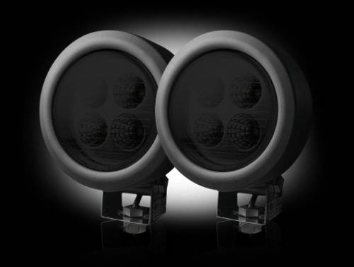 Lighting - Driving & Running Lights - Recon Truck Accessories - LED Round Driving Light Kit w Black Chrome Internal Housing