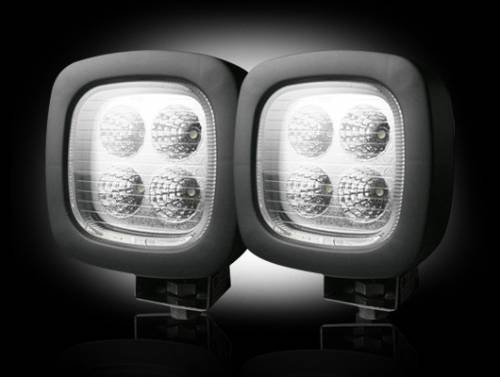 Lighting - Driving & Running Lights - Recon Truck Accessories - LED Square Driving Light Kit w Chrome Internal Housing
