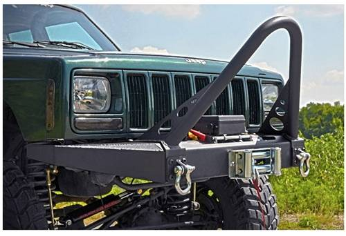 Exterior - Bumpers & Tire Carriers - Rough Country Suspension - 10570 | Jeep Front Winch Bumper