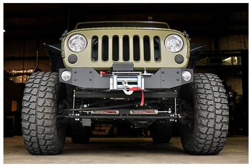 Exterior - Bumpers & Tire Carriers - Rough Country Suspension - 1062 | Jeep Hybrid Stubby Winch Bumper with Fog Mounts