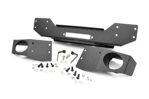 JK Wrangler - JK Bumpers - Rough Country Suspension - 1062 | Jeep Hybrid Stubby Winch Bumper with Fog Mounts